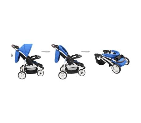 vidaXL Vaikiškas triratis vežimėlis, mėlynos ir juodos spalvos[3/11]