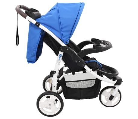 vidaXL Vaikiškas triratis vežimėlis, mėlynos ir juodos spalvos[4/11]