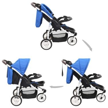 vidaXL Vaikiškas triratis vežimėlis, mėlynos ir juodos spalvos[2/11]
