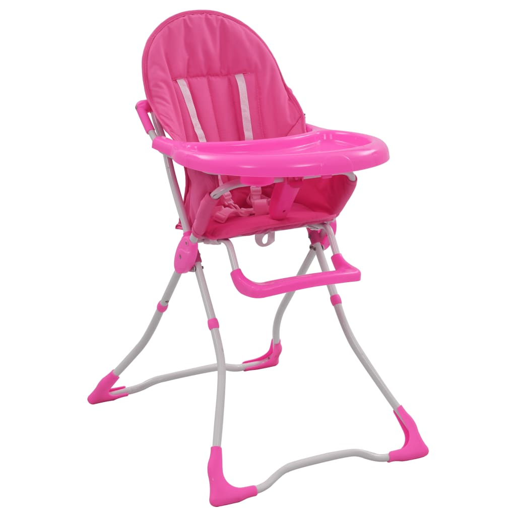 vidaXL Scaun de masă înalt pentru copii, roz și alb imagine vidaxl.ro