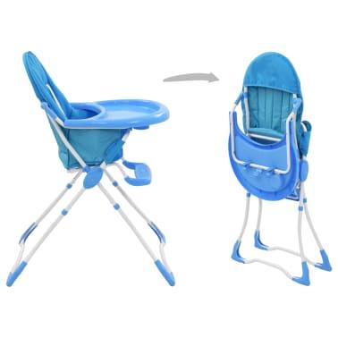 vidaXL Aukšta maitinimo kėdutė, mėlynos ir baltos spalvos[3/9]
