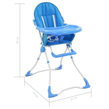 vidaXL Aukšta maitinimo kėdutė, mėlynos ir baltos spalvos[9/9]