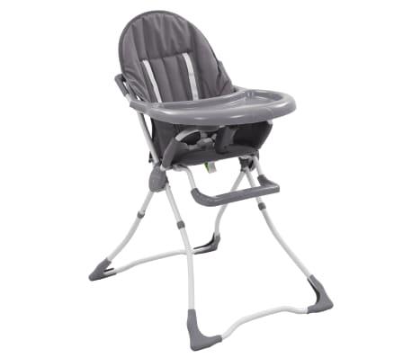 vidaXL Cadeira de refeição para bebé cinzento e branco