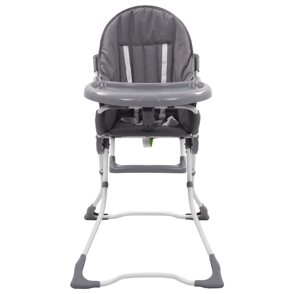 vidaXL Dětská jídelní židlička šedo-bílá