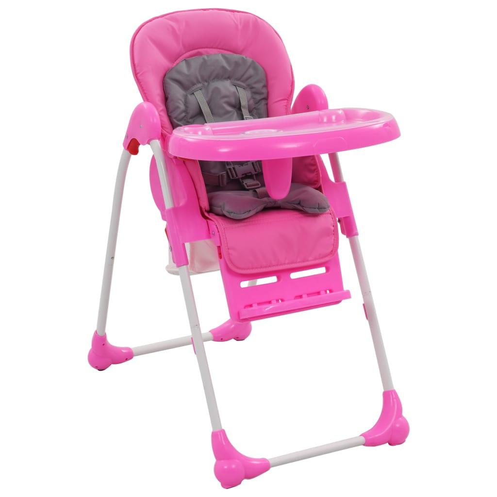 vidaXL Dětská jídelní židlička růžovo-šedá