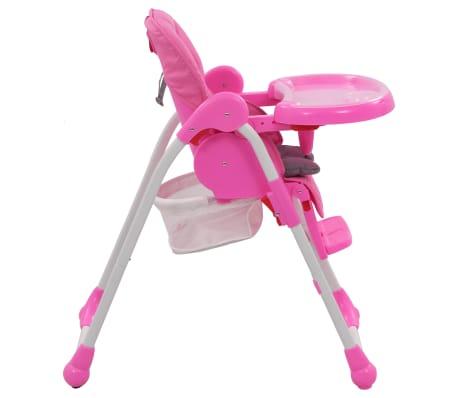 vidaXL Aukšta maitinimo kėdutė, rožinės ir pilkos spalvos[6/12]