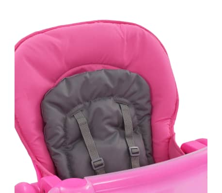 vidaXL Aukšta maitinimo kėdutė, rožinės ir pilkos spalvos[9/12]