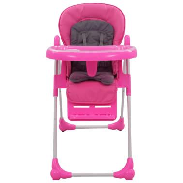 vidaXL Aukšta maitinimo kėdutė, rožinės ir pilkos spalvos[2/12]