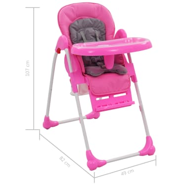 vidaXL Aukšta maitinimo kėdutė, rožinės ir pilkos spalvos[12/12]