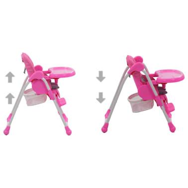 vidaXL Aukšta maitinimo kėdutė, rožinės ir pilkos spalvos[4/12]