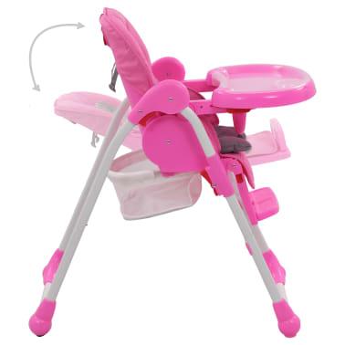 vidaXL Aukšta maitinimo kėdutė, rožinės ir pilkos spalvos[5/12]
