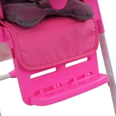 vidaXL Aukšta maitinimo kėdutė, rožinės ir pilkos spalvos[10/12]