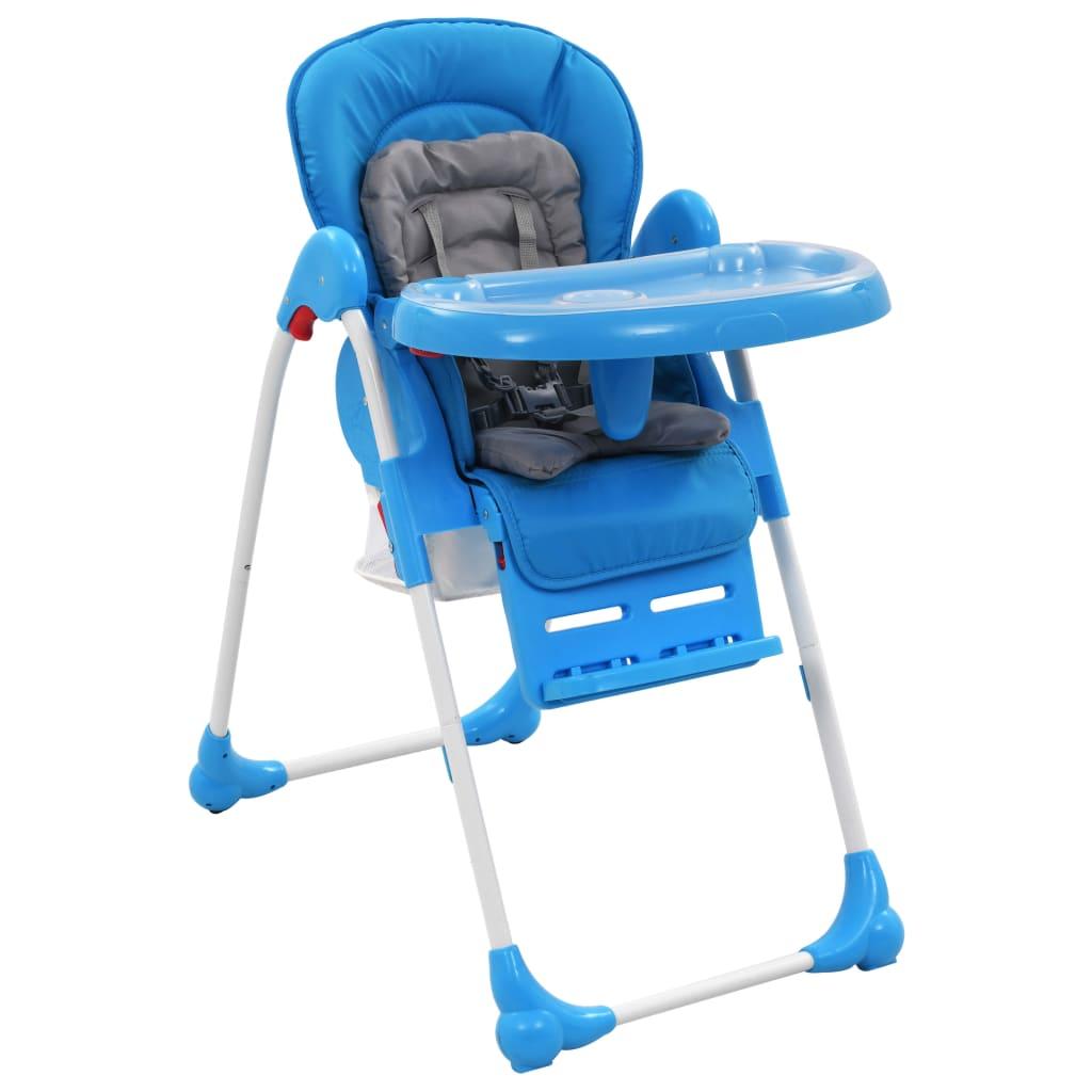 vidaXL Scaun de masă înalt pentru copii, albastru și gri imagine vidaxl.ro