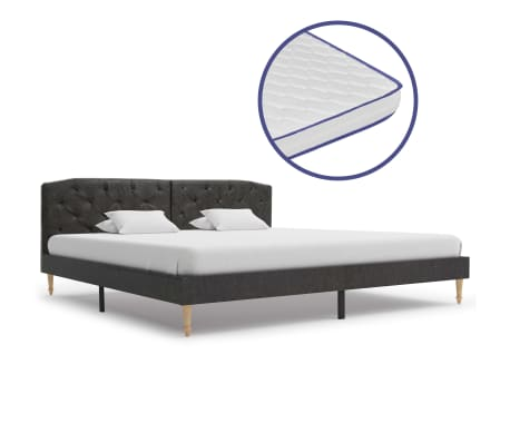 vidaXL Bed met traagschuim matras stof zwart 180x200 cm