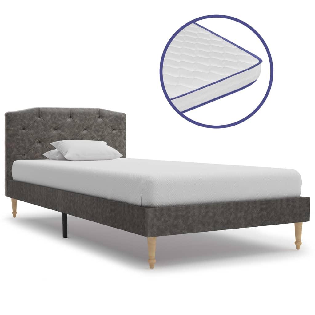 vidaXL Κρεβάτι Σκούρο Γκρι 90×200 εκ Υφασμάτινο + Στρώμα Αφρού Μνήμης