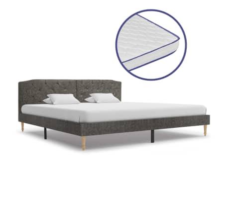 vidaXL Bed met traagschuim matras stof donkergrijs 180x200 cm