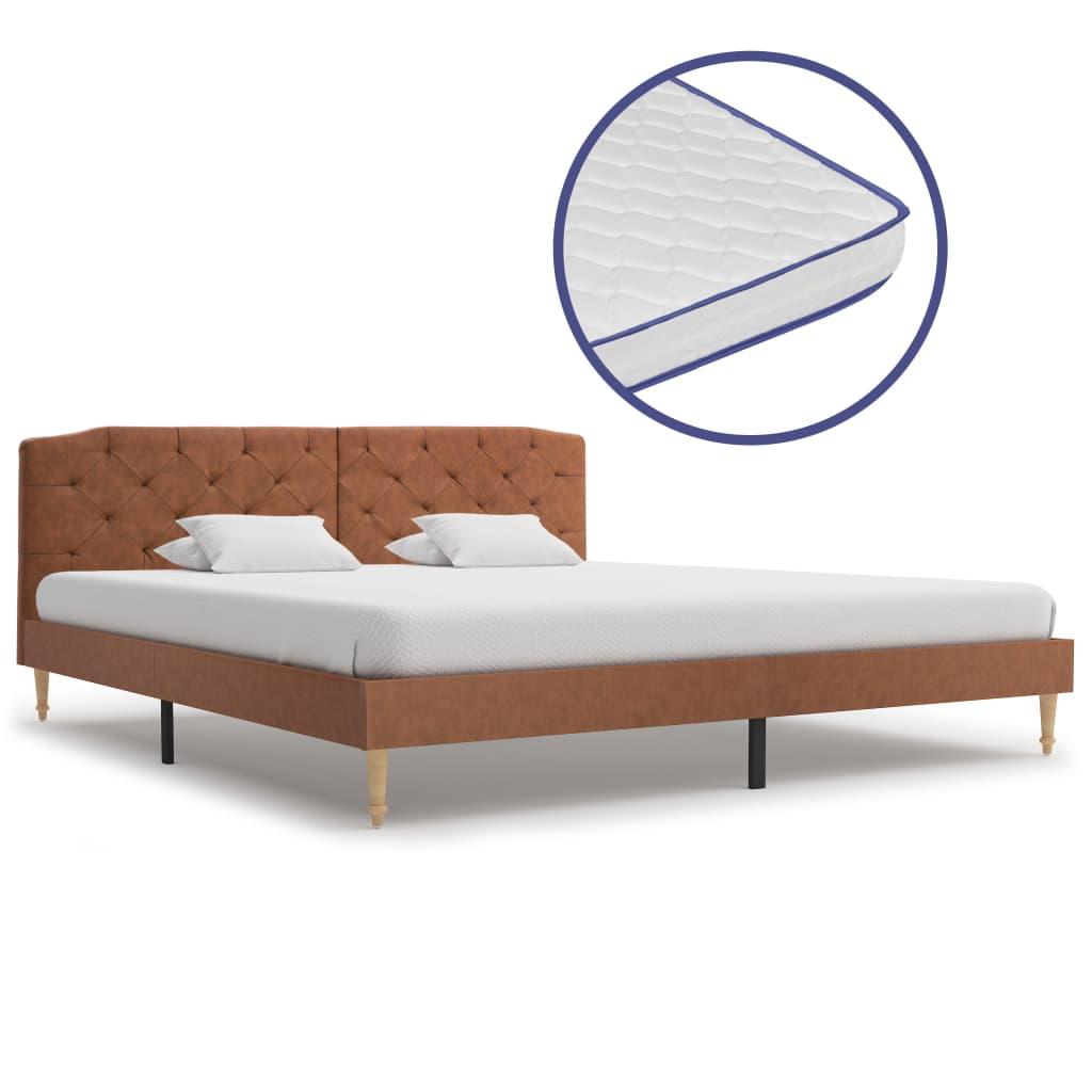 vidaXL Κρεβάτι Καφέ 180 x 200 εκ. Υφασμάτινο με Στρώμα Αφρού Μνήμης