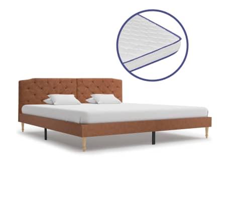 vidaXL Bed met traagschuim matras stof bruin 180x200 cm
