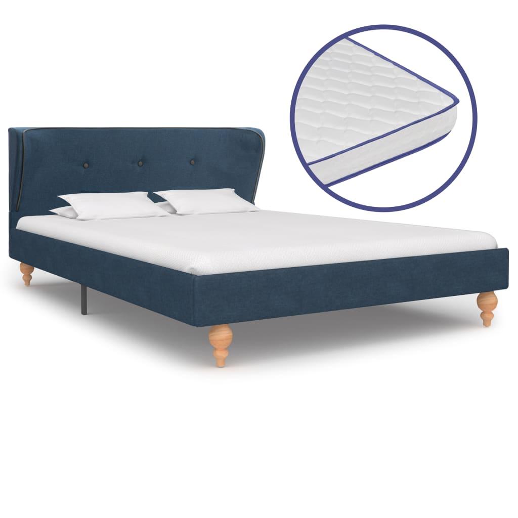 vidaXL Pat cu saltea cu spumă memorie albastru 120 x 200 cm textil vidaxl.ro