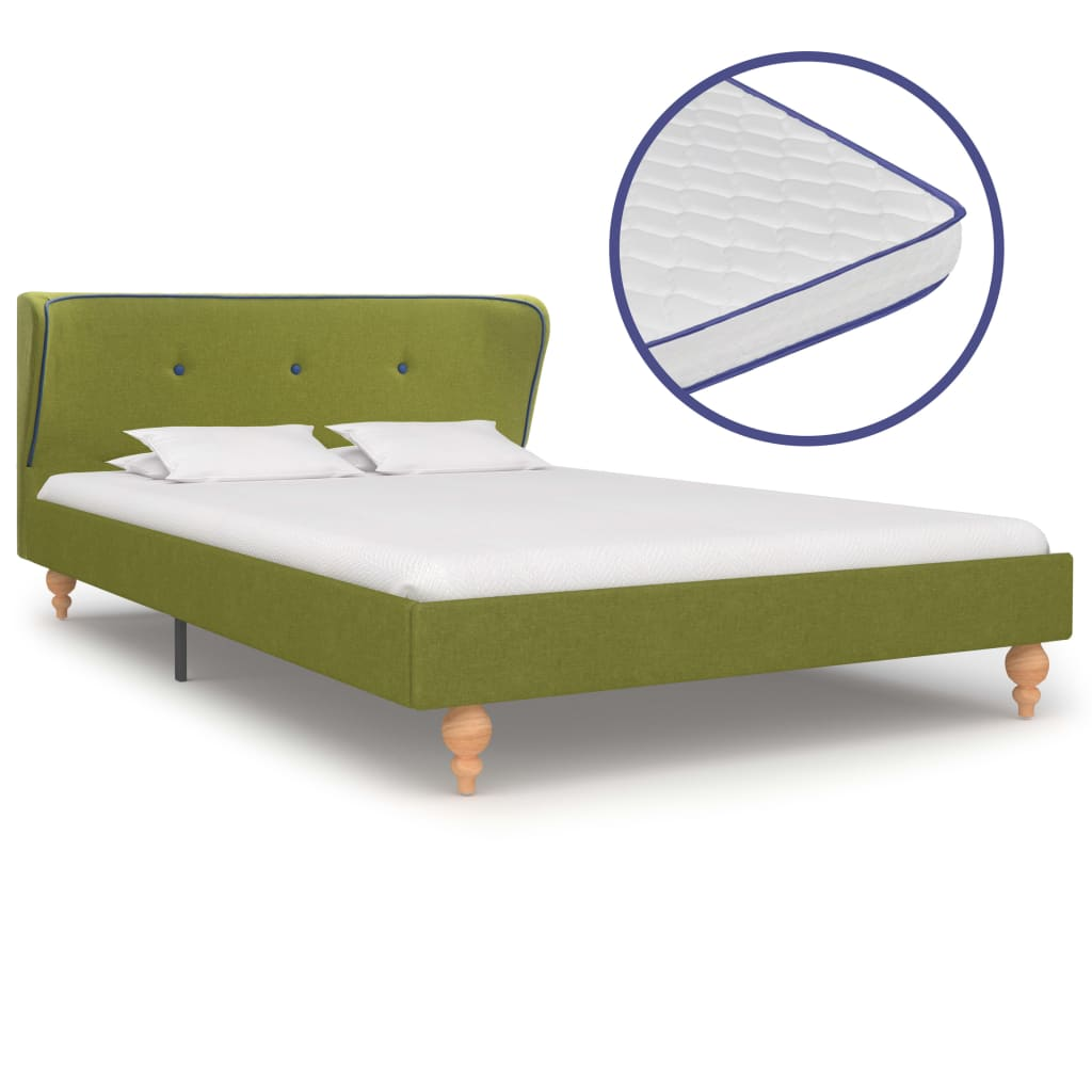 vidaXL Κρεβάτι Πράσινο 120 x 200 εκ. Υφασμάτινο με Στρώμα Αφρού Μνήμης