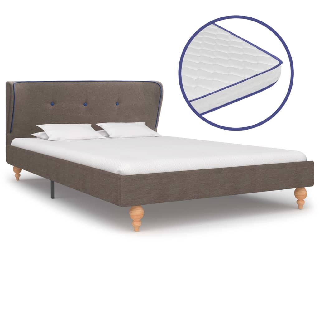 vidaXL Κρεβάτι Χρώμα Taupe 120×200 εκ. Ύφασμα + Στρώμα Αφρού Μνήμης