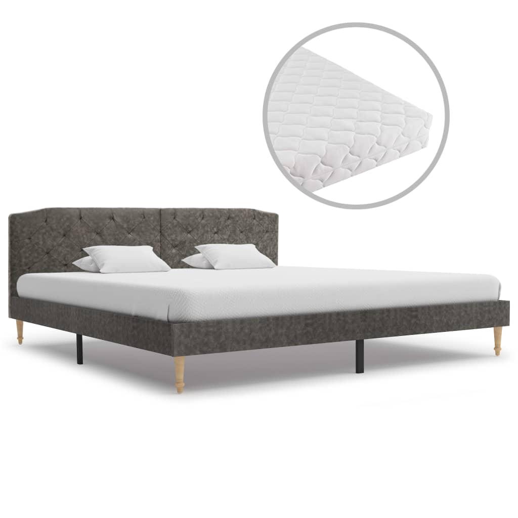 vidaXL Κρεβάτι Σκούρο Γκρι 180 x 200 εκ. Υφασμάτινο με Στρώμα