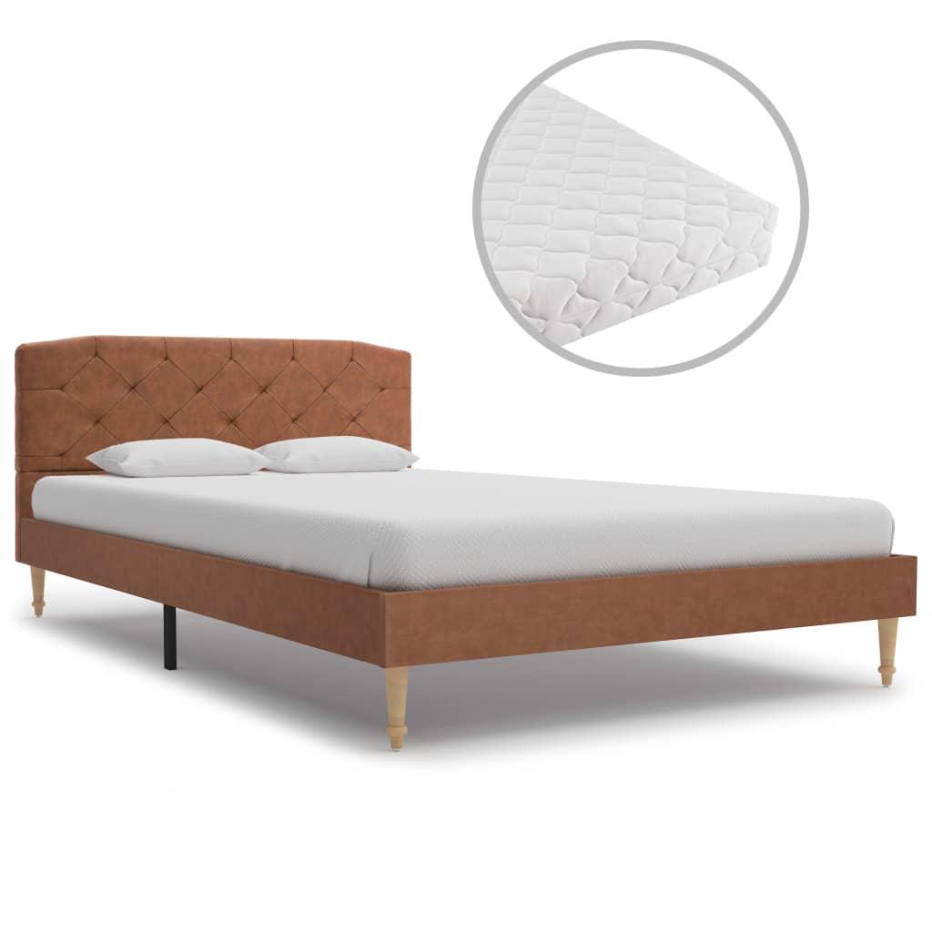 vidaXL Κρεβάτι Καφέ 120 x 200 εκ. Υφασμάτινο με Στρώμα