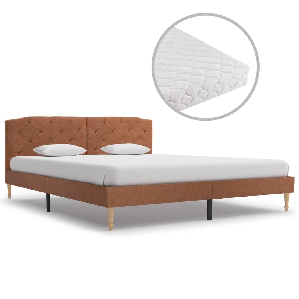 vidaXL seng med madras 160 x 200 cm stof brun