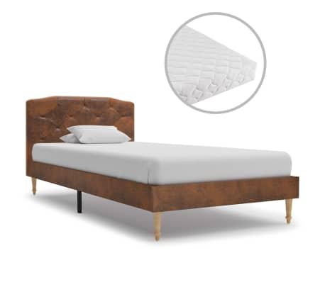 vidaXL Postel s matrací hnědá umělá broušená kůže 90 x 200 cm
