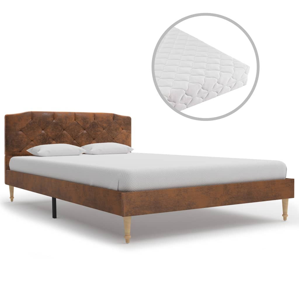 Bett mit Matratze Braun Wildleder-Optik 120 x 200 cm