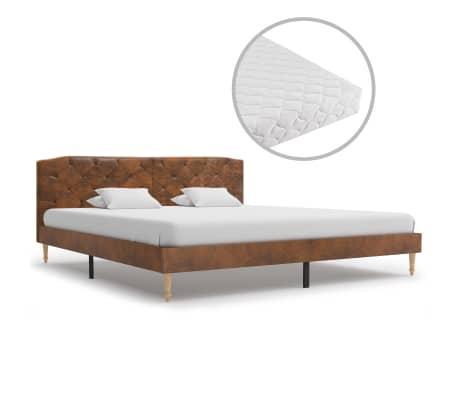 vidaXL Bed met matras kunstsuède bruin 180x200 cm