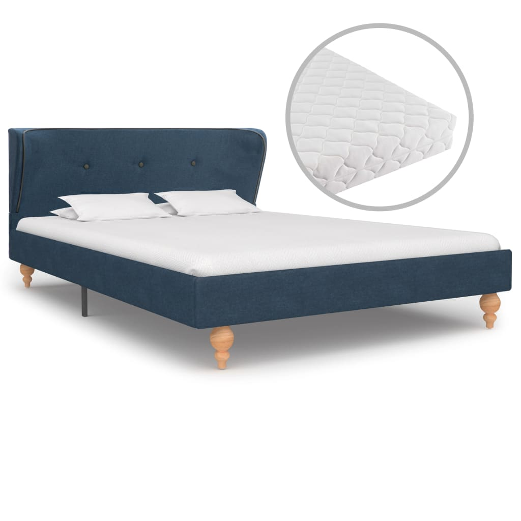 Bett mit Matratze Blau Stoff 120 x 200 cm
