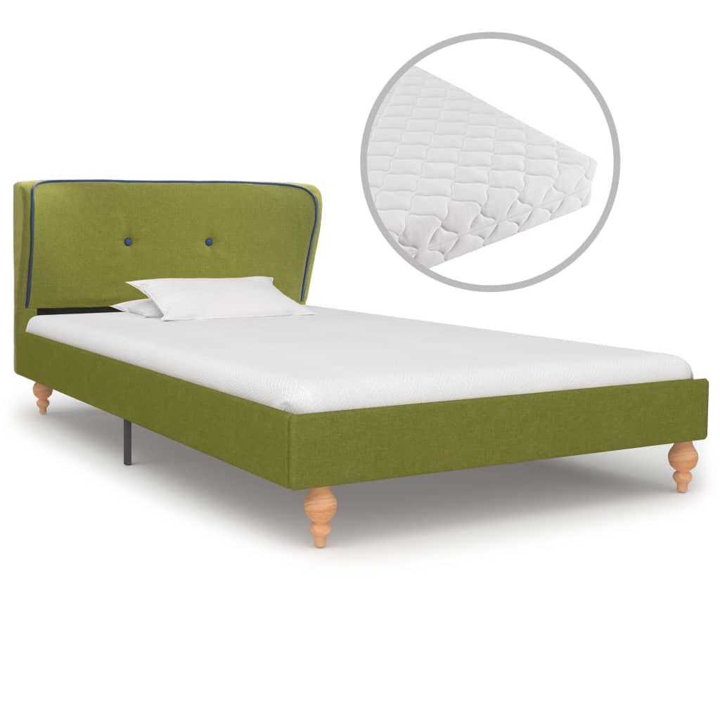 vidaXL Κρεβάτι Πράσινο 90 x 200 εκ. Υφασμάτινο με Στρώμα