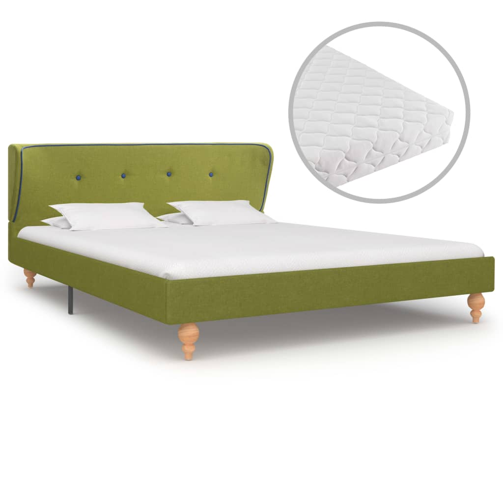 vidaXL Κρεβάτι Πράσινο 140 x 200 εκ. Υφασμάτινο με Στρώμα