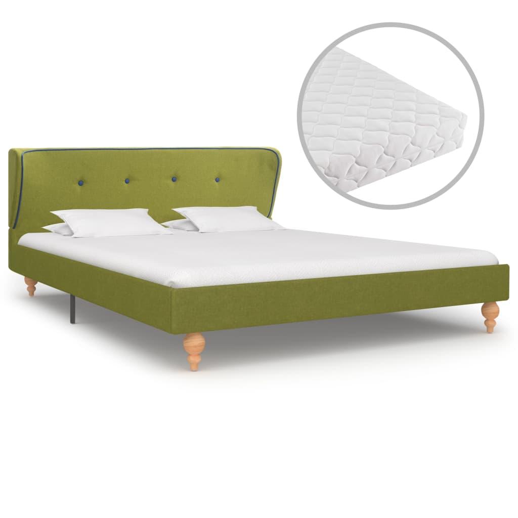 vidaXL Pat cu saltea, verde, 140 x 200 cm, material textil poza 2021 vidaXL