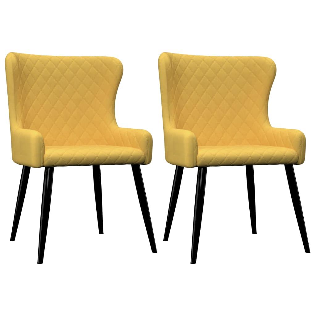 vidaXL Esszimmerstühle 2 Stk. Gelb Stoff
