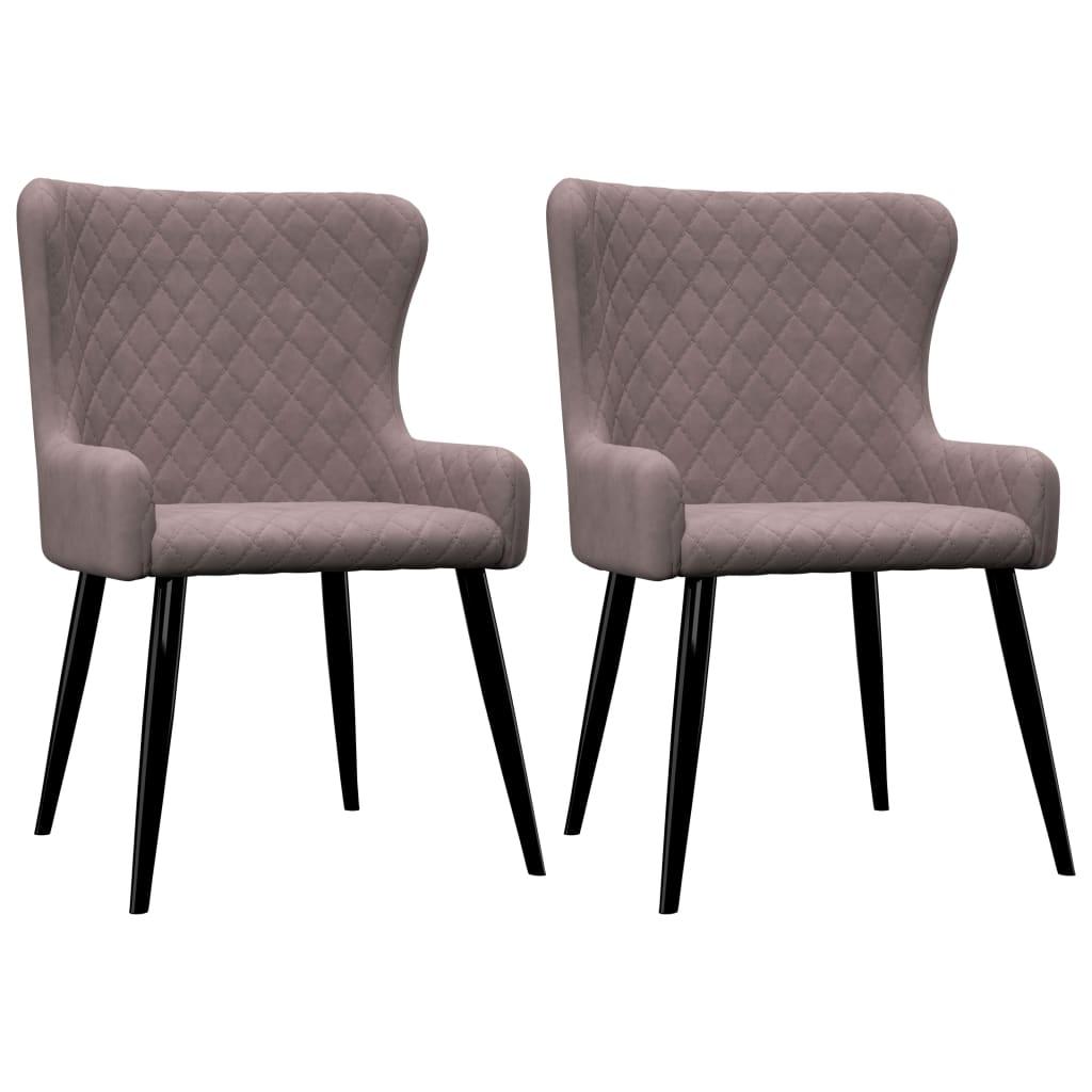 vidaXL Καρέκλες Τραπεζαρίας 2 τεμ. Ροζ Βελούδινες