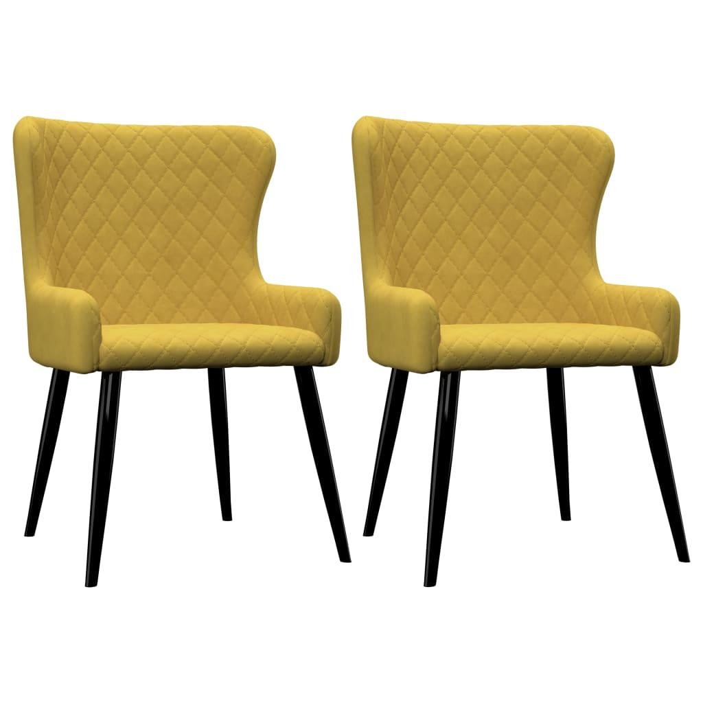 vidaXL Καρέκλες Τραπεζαρίας 2 τεμ. Κίτρινες Βελούδινες