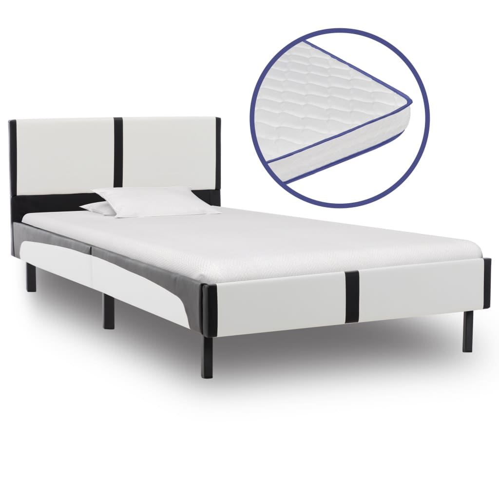 vidaXL Κρεβάτι 90 x 200 εκ. από Δερματίνη με Στρώμα Αφρού Μνήμης