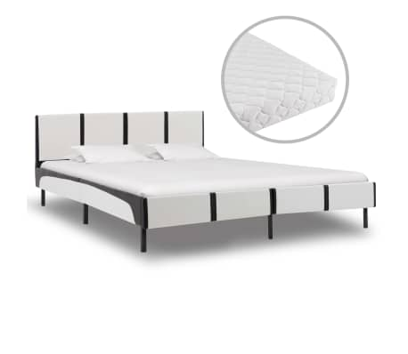 vidaXL Postel s matrací černobílá umělá kůže 160 x 200 cm