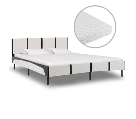 vidaXL Postel s matrací černobílá umělá kůže 180 x 200 cm