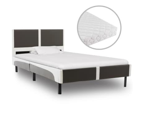 vidaXL Posteľ s matracom, sivo biela, umelá koža 90x200 cm