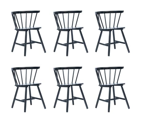 vidaXL Dining Chairs 6 pcs Black Solid Rubber Wood