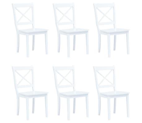 vidaXL 6 pcs Chaises de salle à manger Blanc Bois d'hévéa massif