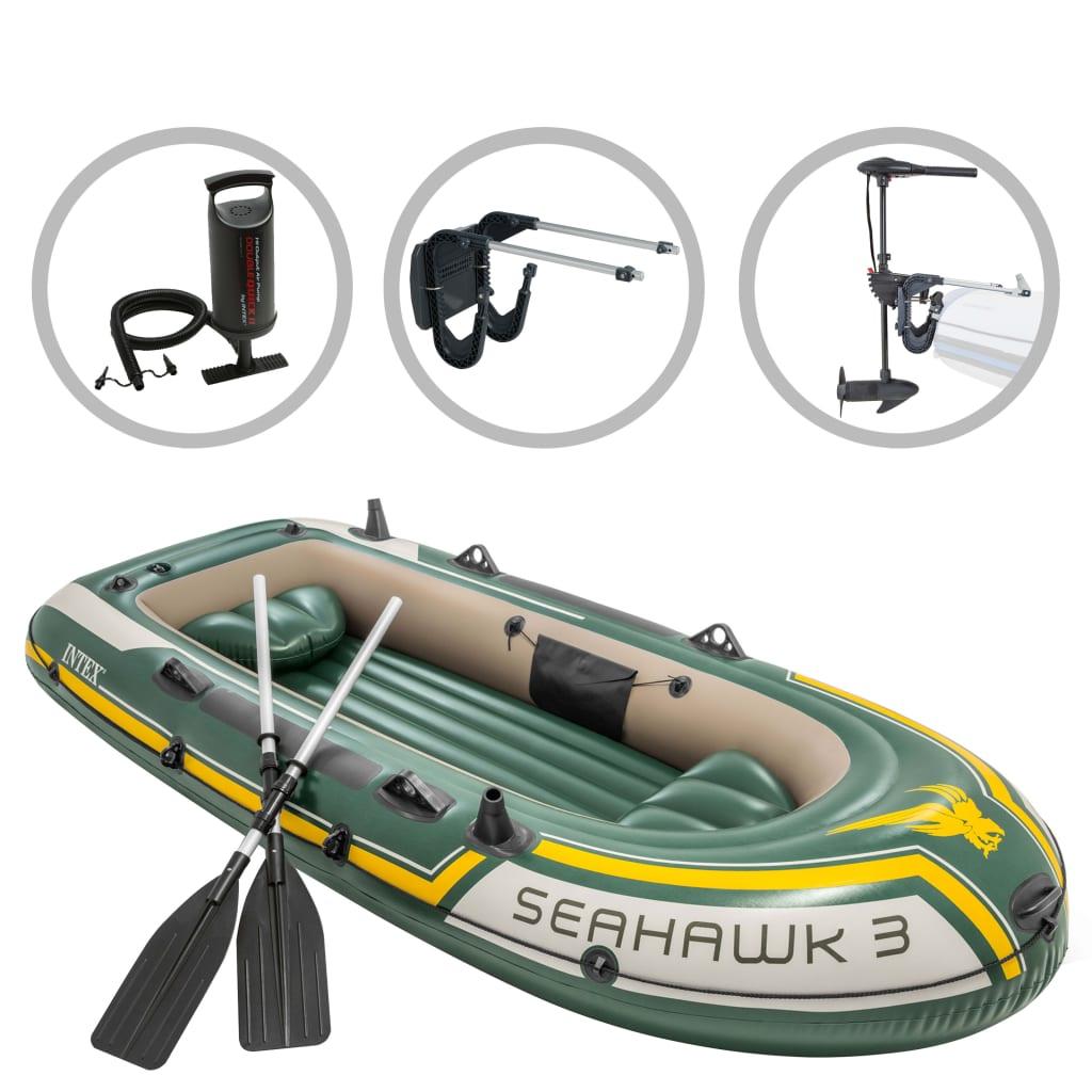Intex Set barcă gonflabilă Seahawk 3 cu motor independent și suport poza vidaxl.ro