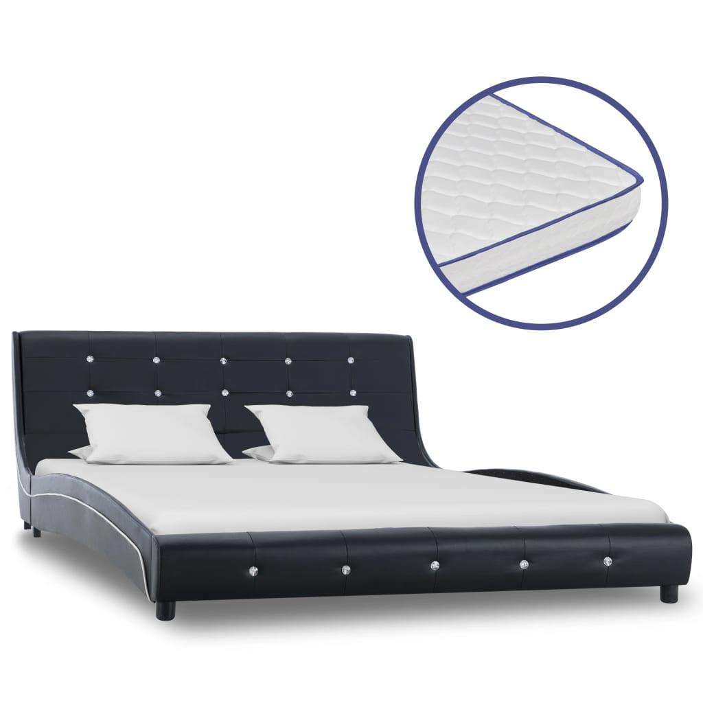 vidaXL Κρεβάτι Μαύρο 140 x 200 εκ. Δερματίνη με Στρώμα Αφρού Μνήμης