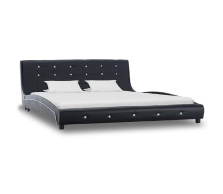 vidaXL Lova su čiužiniu Memory, juodos sp., 160x200 cm, dirbtinė oda[2/15]