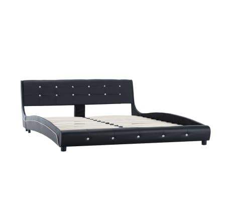 vidaXL Lova su čiužiniu Memory, juodos sp., 160x200 cm, dirbtinė oda[3/15]