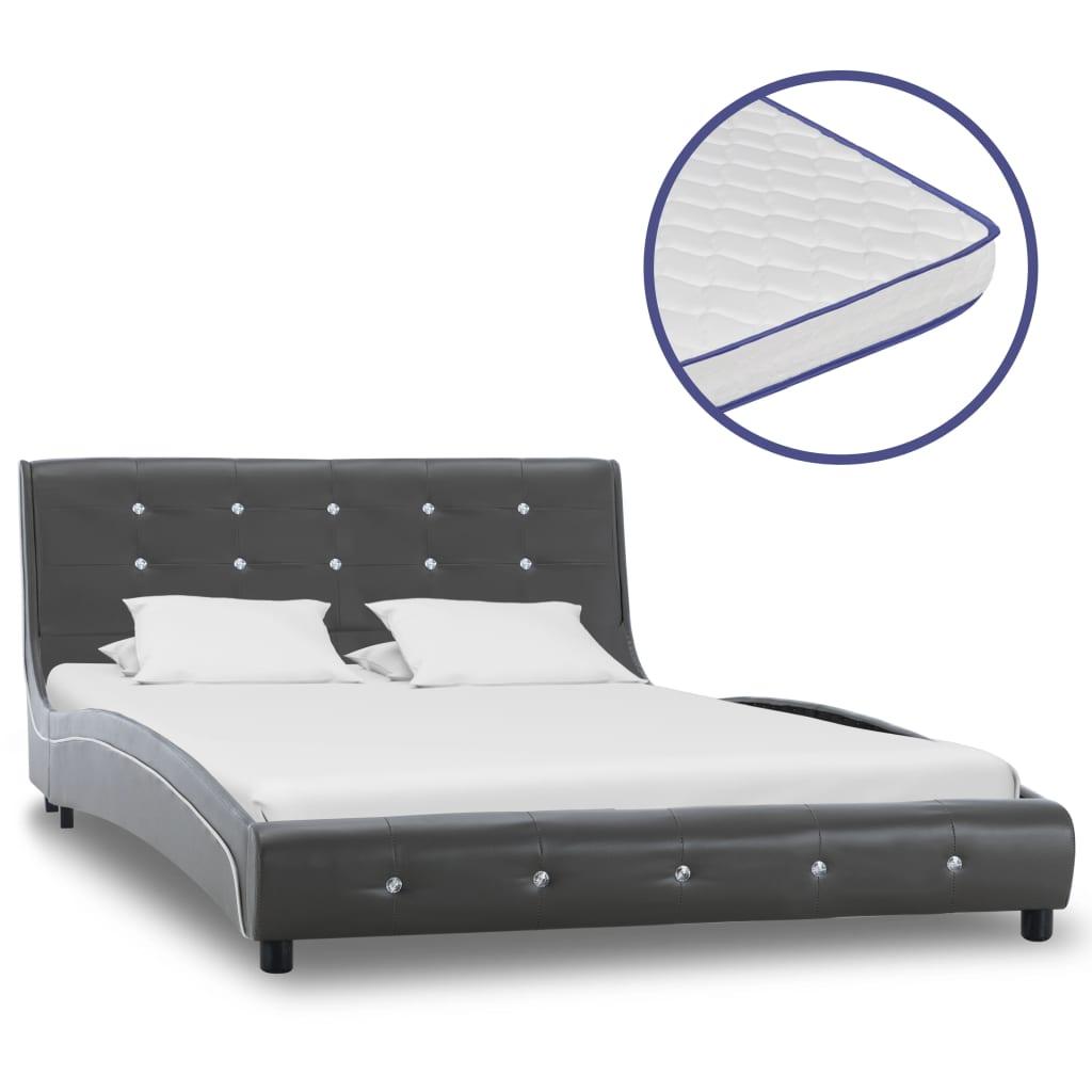 vidaXL Κρεβάτι Γκρι 120×200 εκ. από Δερματίνη με Στρώμα Αφρού Μνήμης