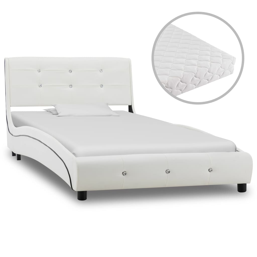 vidaXL Κρεβάτι Λευκό 90 x 200 εκ. από Συνθετικό Δέρμα με Στρώμα